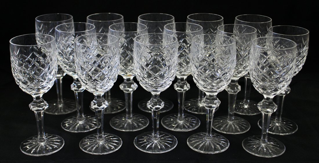 (15) WATERFORD POWERSCOURT CLARET WINE GLASSES