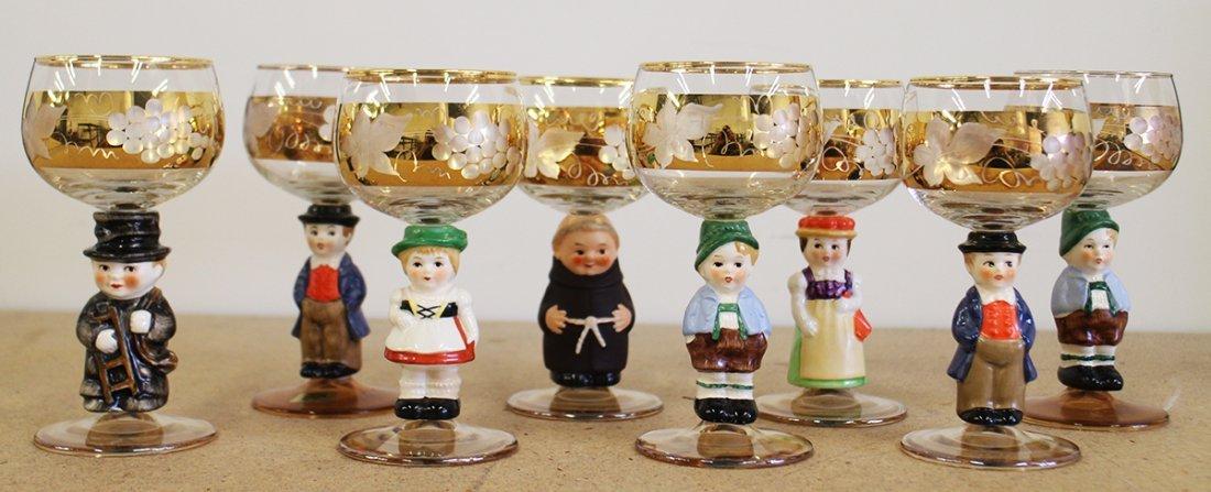 (8) WEST GERMANY GOEBEL FIGURAL WINE GLASSES