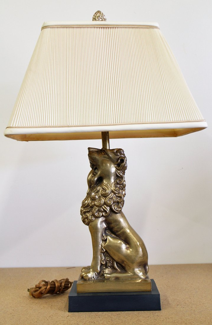 BRASS LION LAMP