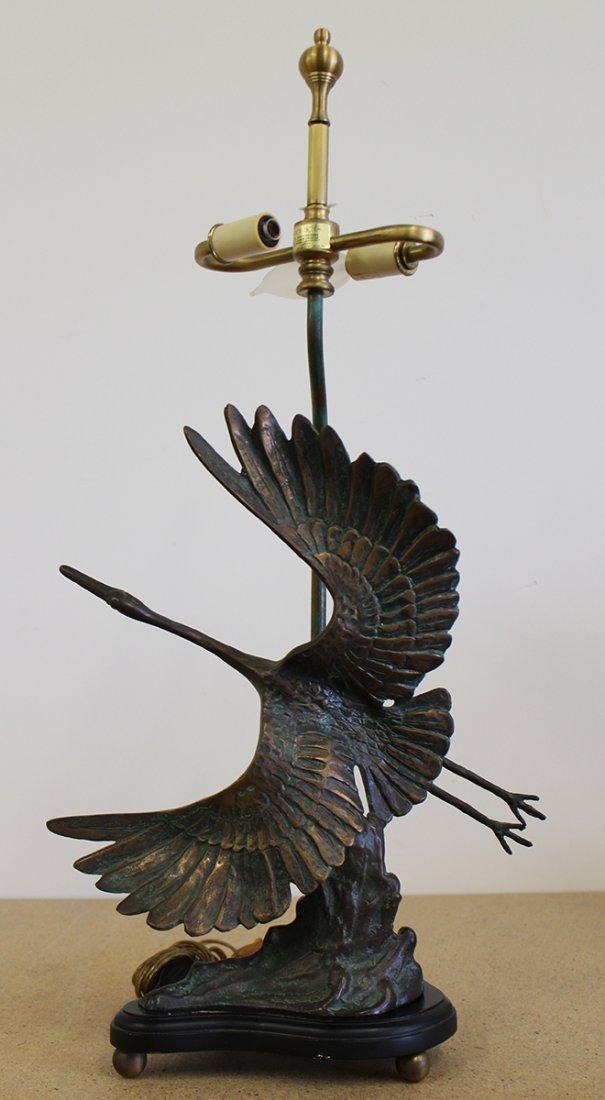 BRONZE EGRET BIRD LAMP