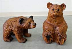 2 CARVED WOOD BEARS