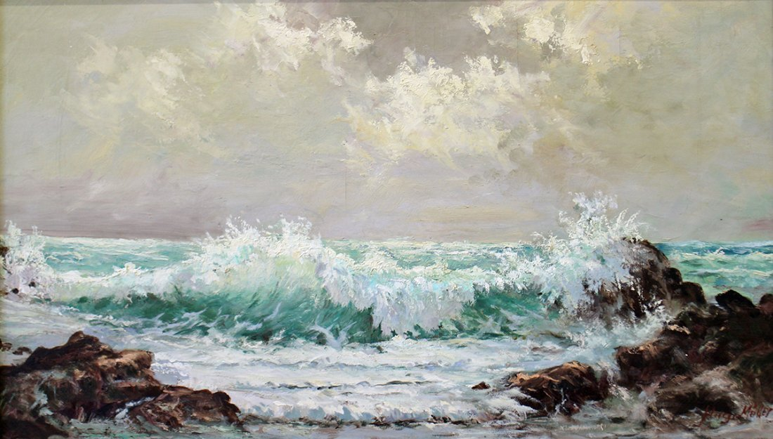 OIL ON CANVAS OCEAN PAINTING