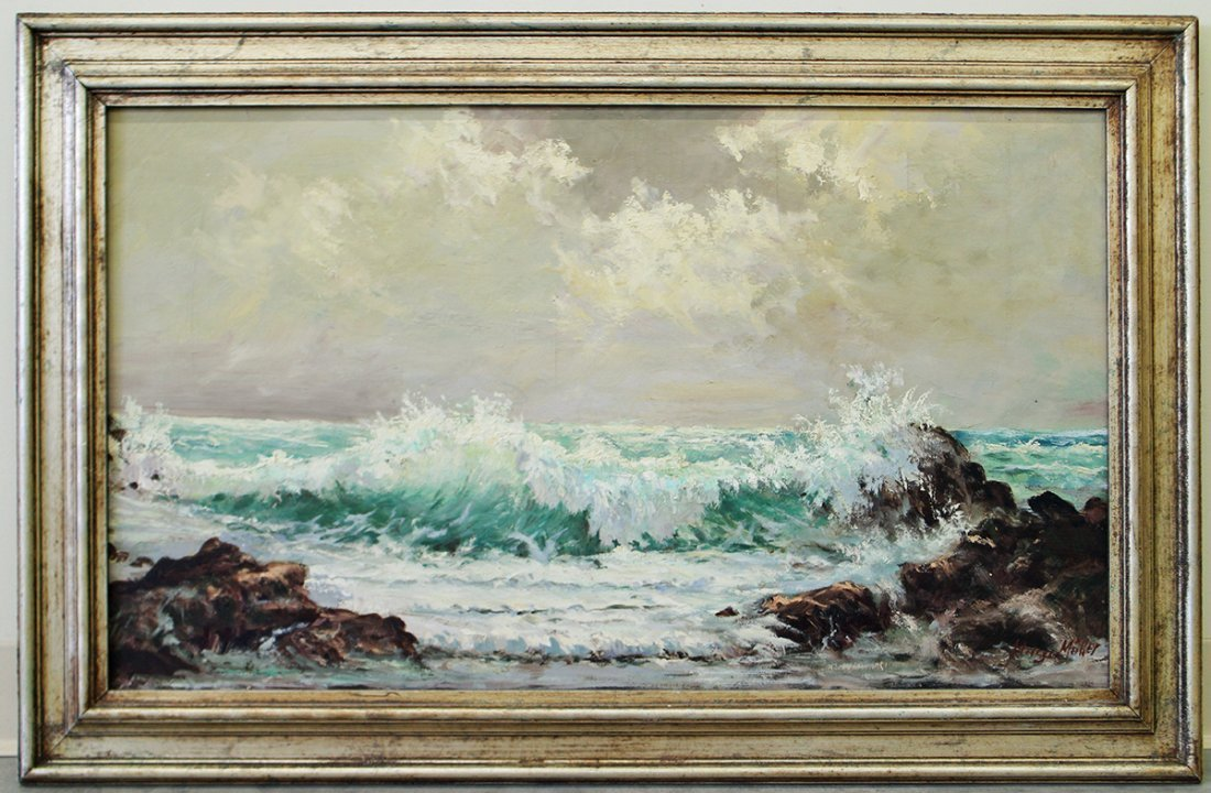 OIL ON CANVAS OCEAN PAINTING - 2