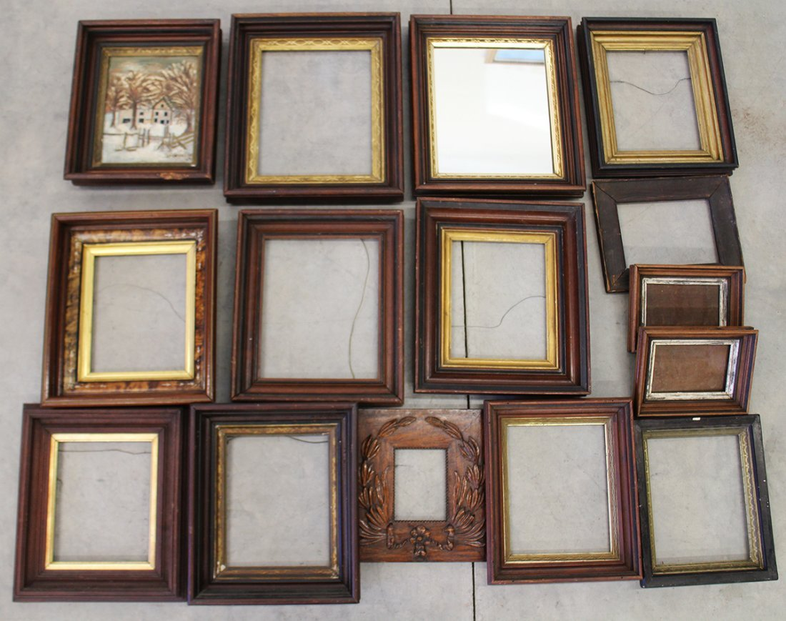 (15) ASSORTED ANTIQUE WOOD FRAMES