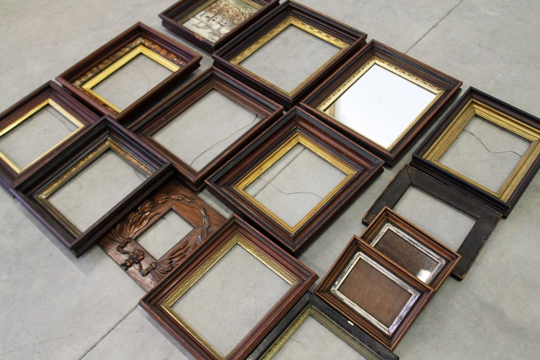 (15) ASSORTED ANTIQUE WOOD FRAMES - 4