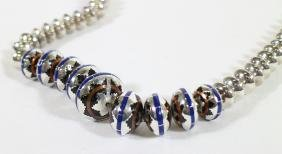 NAVAJO STERLING INLAID BEAD NECKLACE