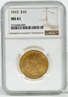 1915 $10 INDIAN HEAD GOLD EAGLE COIN