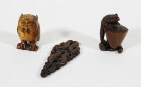 (2) NETSUKES & CHINESE CARVING
