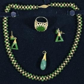 14K JADE NECKLACE, EARRINGS, RING AND PENDANT