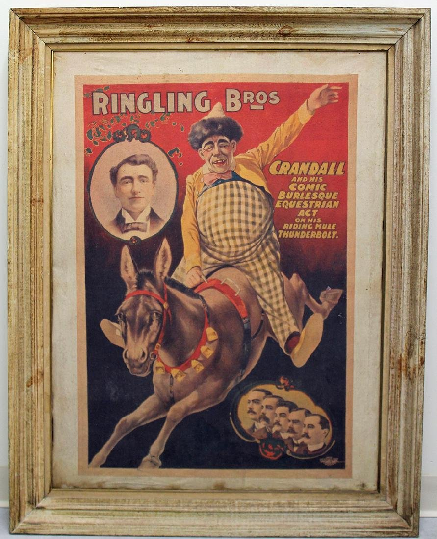 RINGLING BROS CANVAS LINEN POSTER BY COURIER LITHO