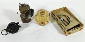 MINERS LAMP, MILITARY COMPASS, & MORE