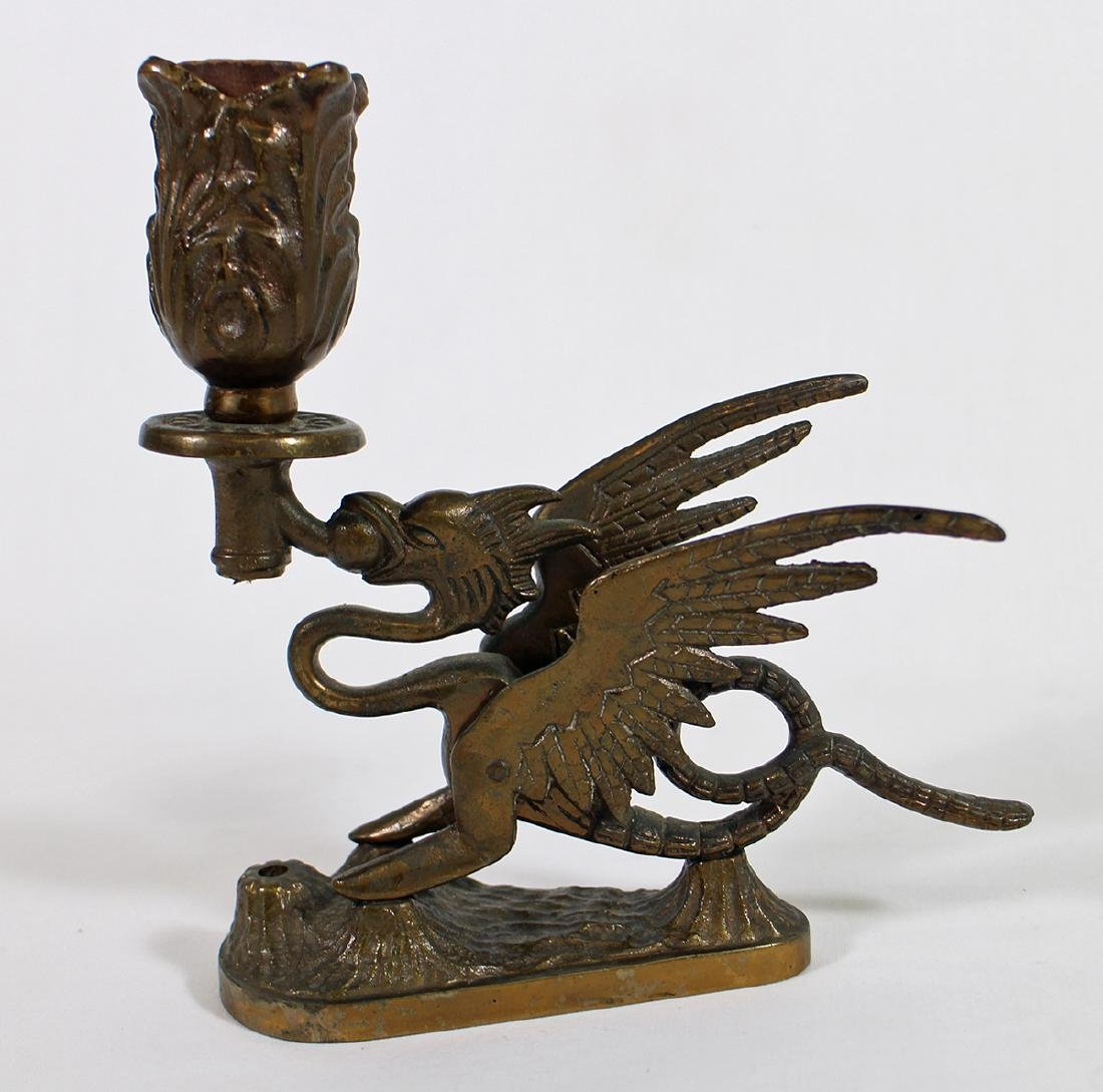VINTAGE BRASS GRIFFIN LAMP