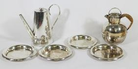 SILVERPLATE POTS & WINE COASTERS