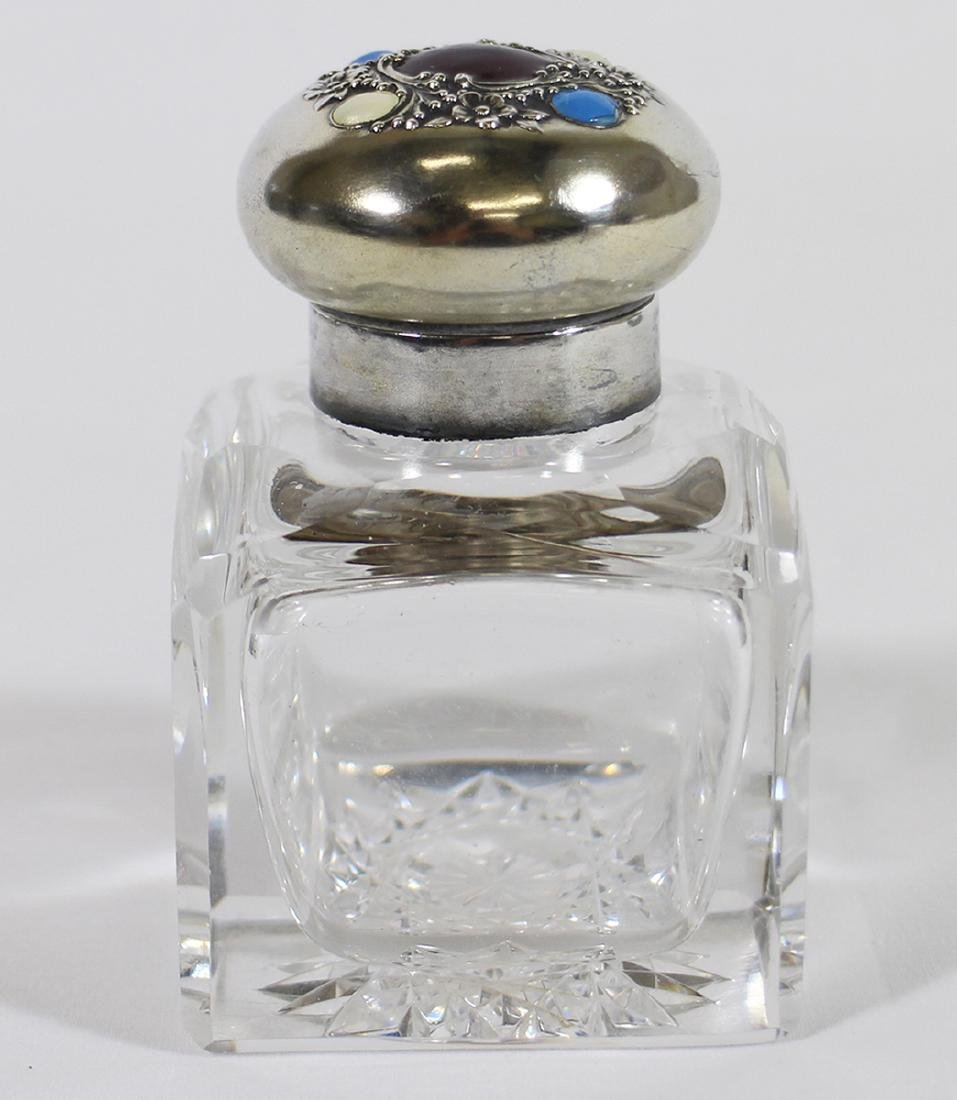 REED & BARTON STERLING & GLASS INKWELL