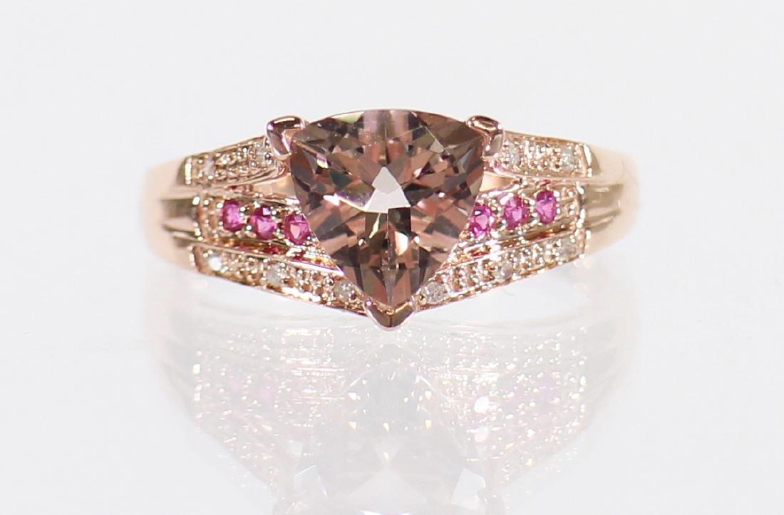 14K MORGANITE, RUBY, & DIAMOND RING