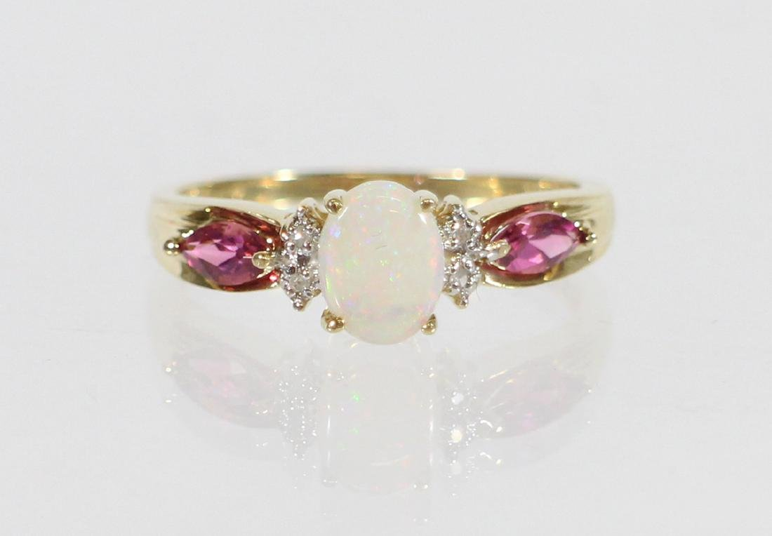 10K OPAL, TOURMALINE & DIAMOND RING