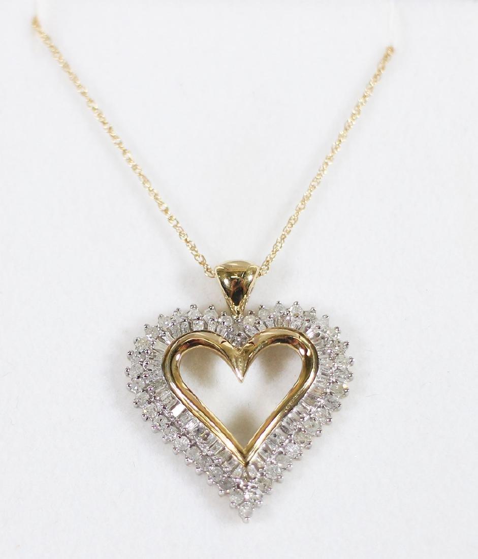 10K DIAMOND HEART PENDANT AND CHAIN