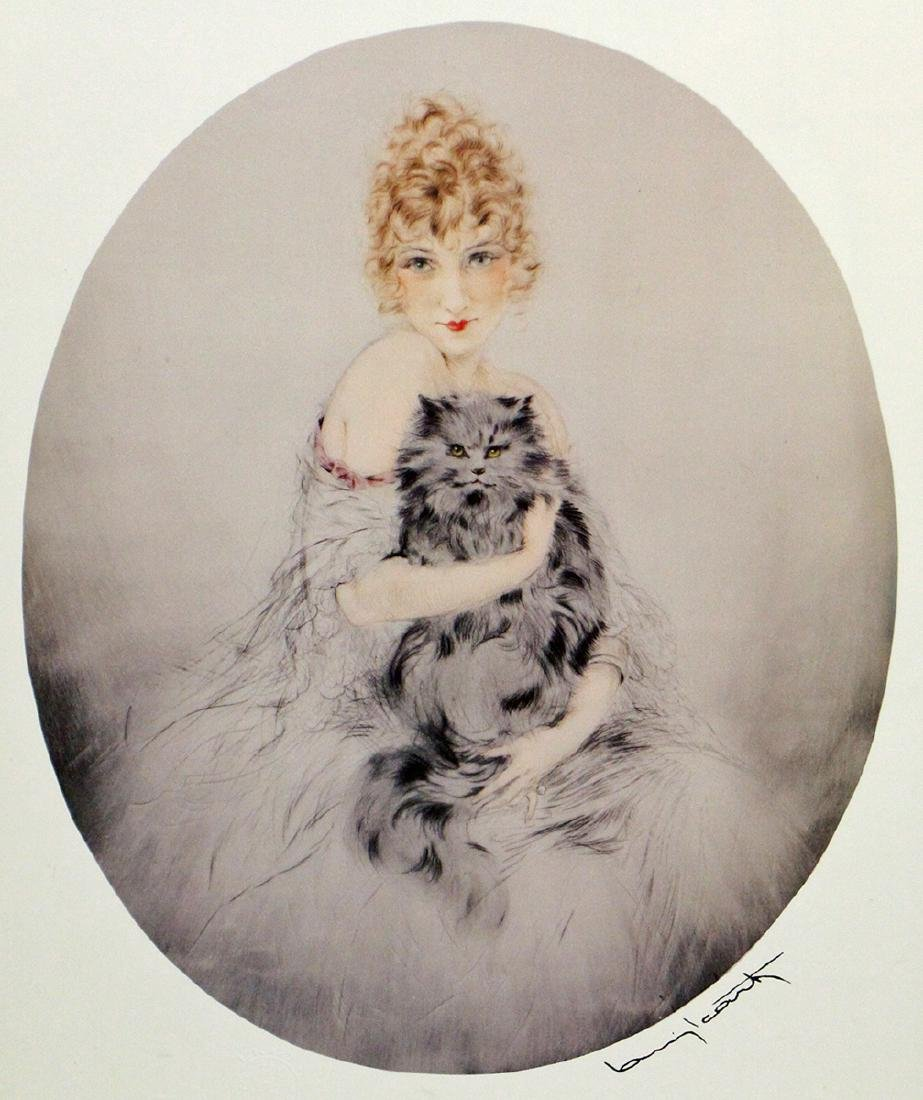 LOUIS ICART WOMAN WITH CAT