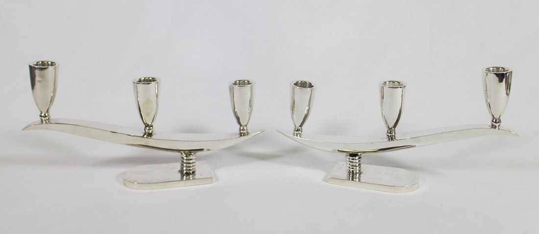 (2) MEXICAN STERLING SILVER MODERN CANDLE HOLDERS