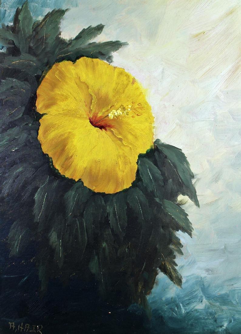 AL HAIR HIGHWAYMEN PAINTING - HIBISCUS FLOWER