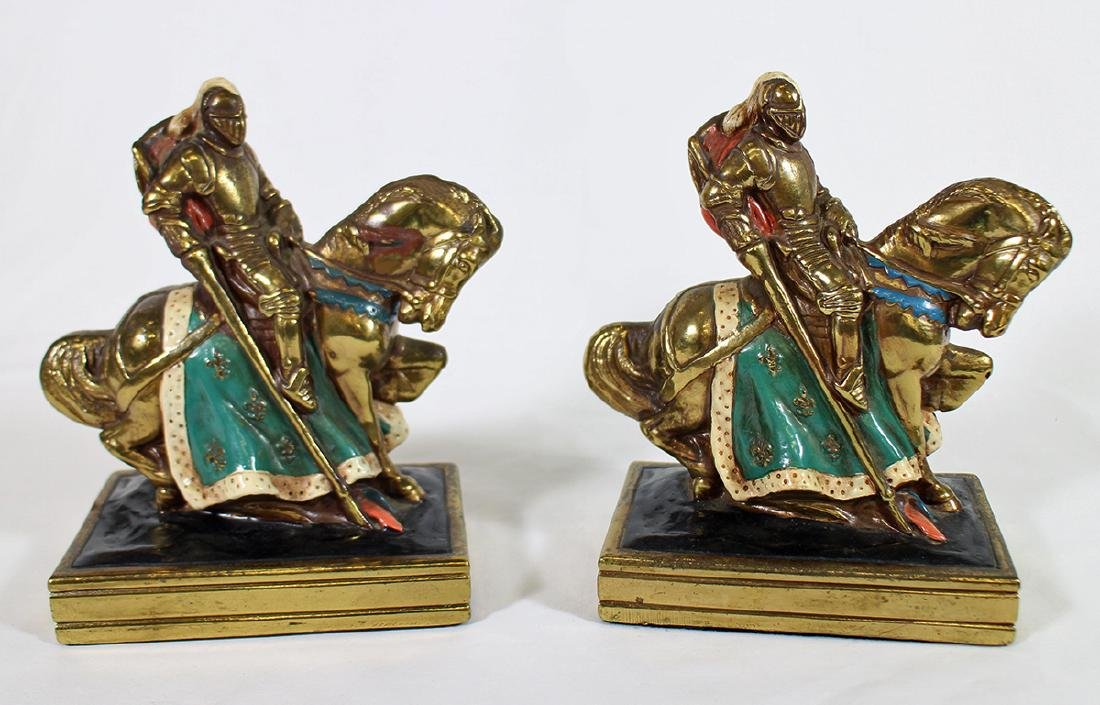 VINTAGE MARION BRONZE KNIGHT HORSE BOOKENDS