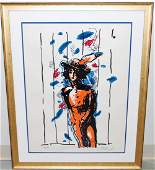 PETER MAX WITH FEATHERS LITHOGRAPH
