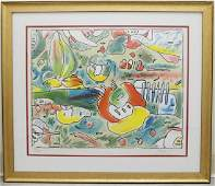 "PETER MAX ""FLOWER ABSTRACT"" LITHOGRAPH"