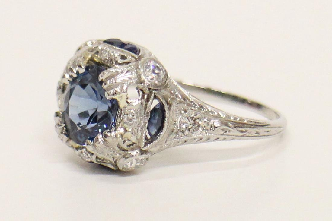 ART DECO PLATINUM SAPPHIRE AND DIAMOND RING