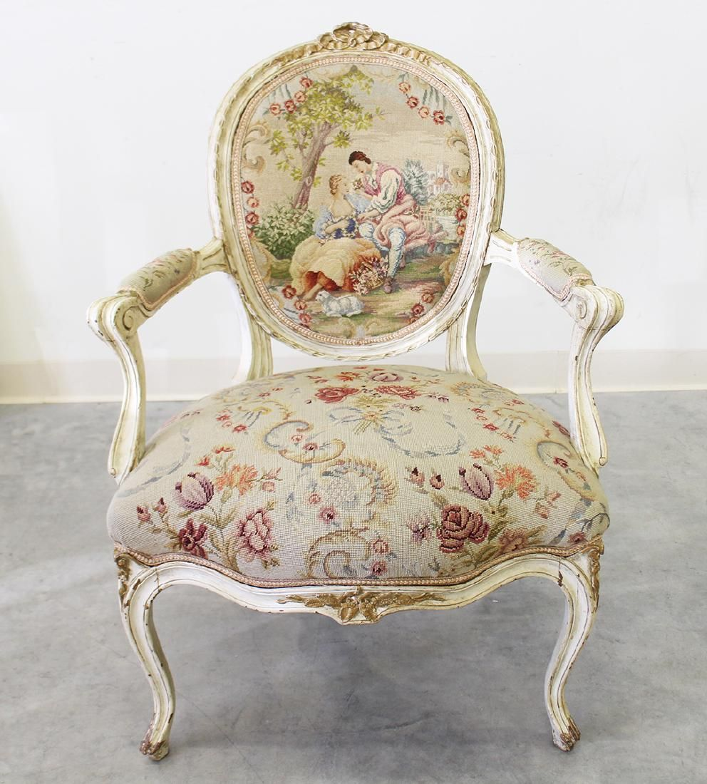 FRENCH NEEDLEPOINT ARMCHAIR