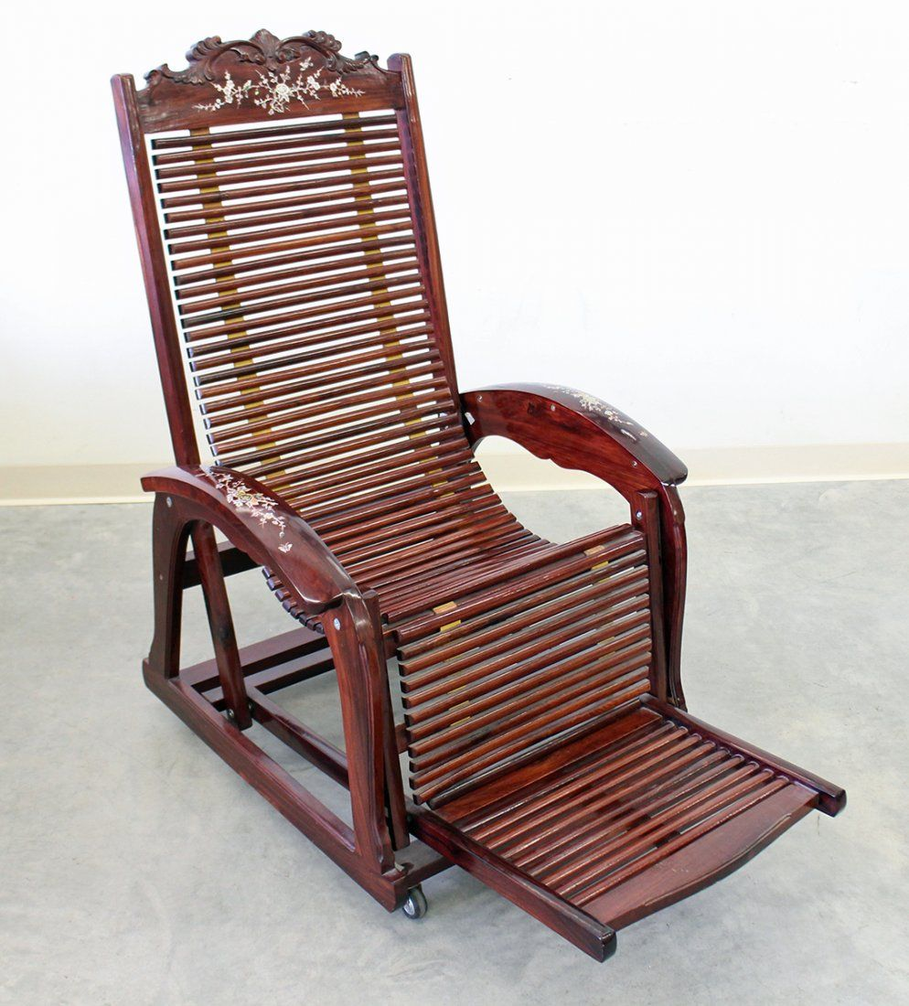 MOTHER OF PEARL INLAID ROSEWOOD RECLINING CHAIR