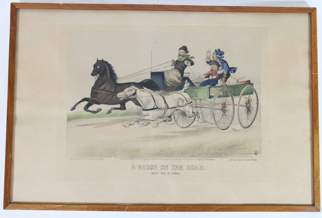 """CURRIER & IVES LITHOGRAPH """"A BRUSH ON THE ROAD"""""""