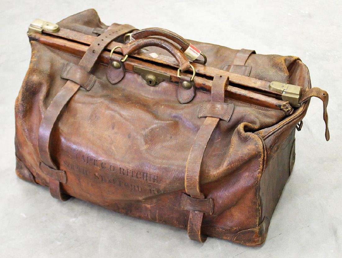 19TH C LEATHER MILITARY SUITCASE - WEBB & BRYANT
