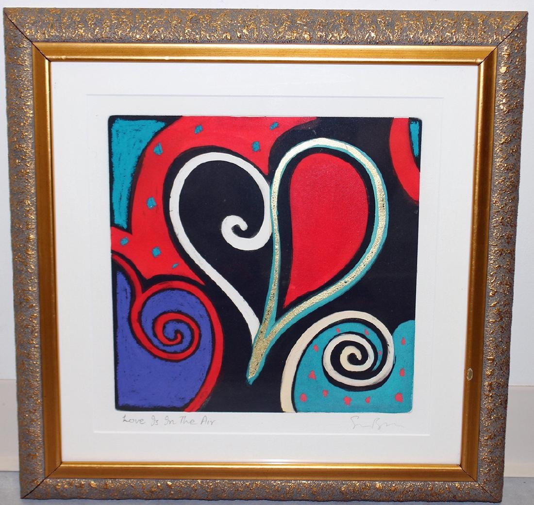 """SIMON BULL """"LOVE IS IN THE AIR"""" PAINTING"""