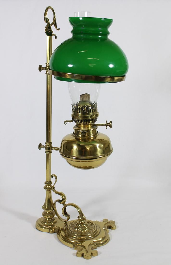 ANTIQUE BRASS MESSENGER OIL LAMP