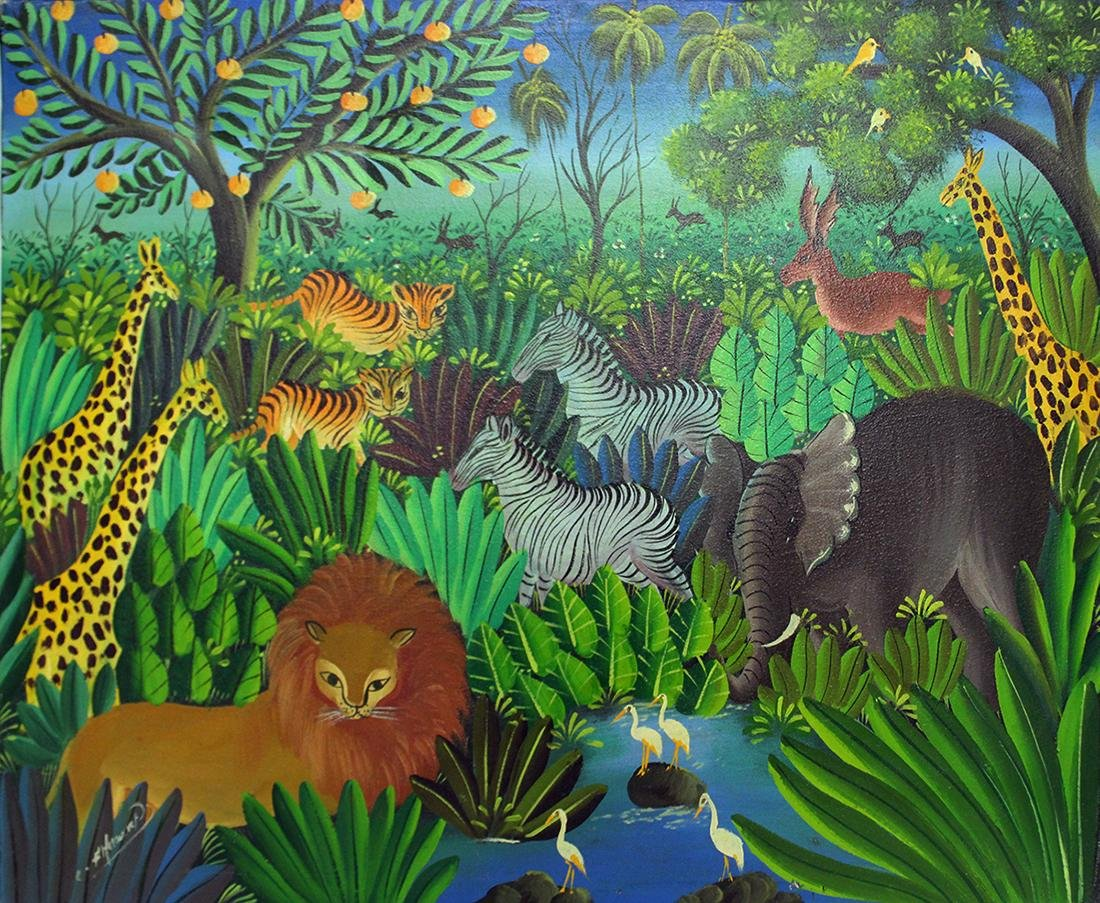 HAITIAN JUNGLE PAINTING