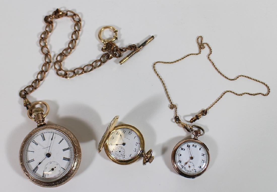 (3) POCKET WATCHES - WALTHAM, ELGIN, & MORE