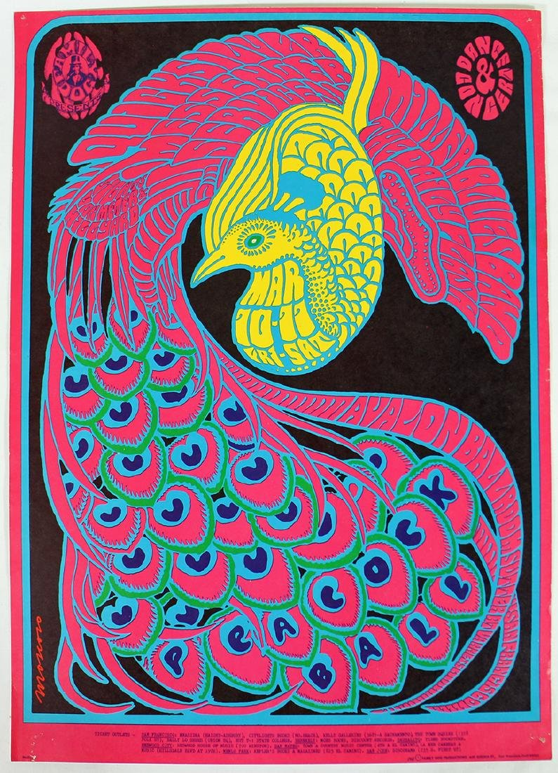 VICTOR MOSCOSO PEACOCK BALL 1967 CONCERT POSTER