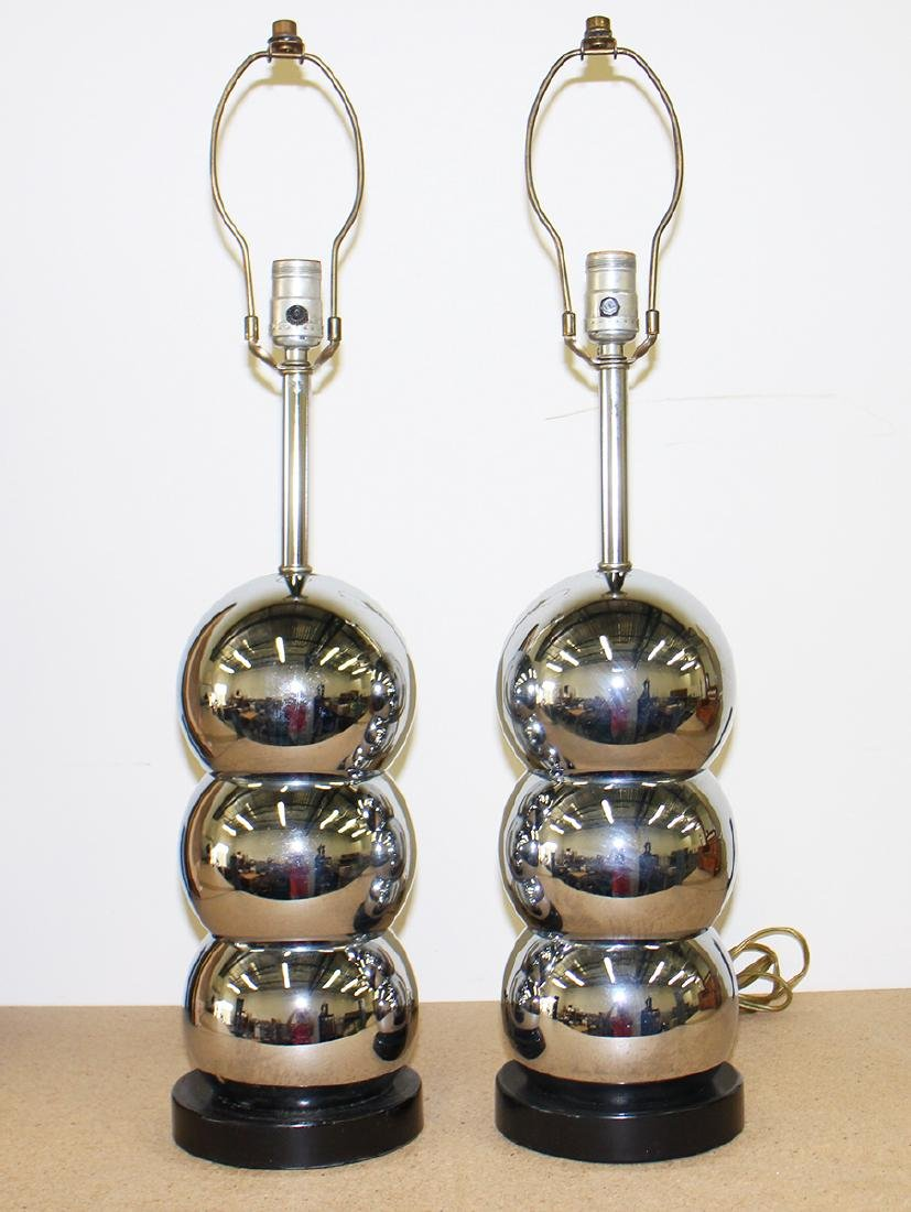 MID CENTURY GEORGE KOVACS STYLE CHROME BALL LAMPS - 2