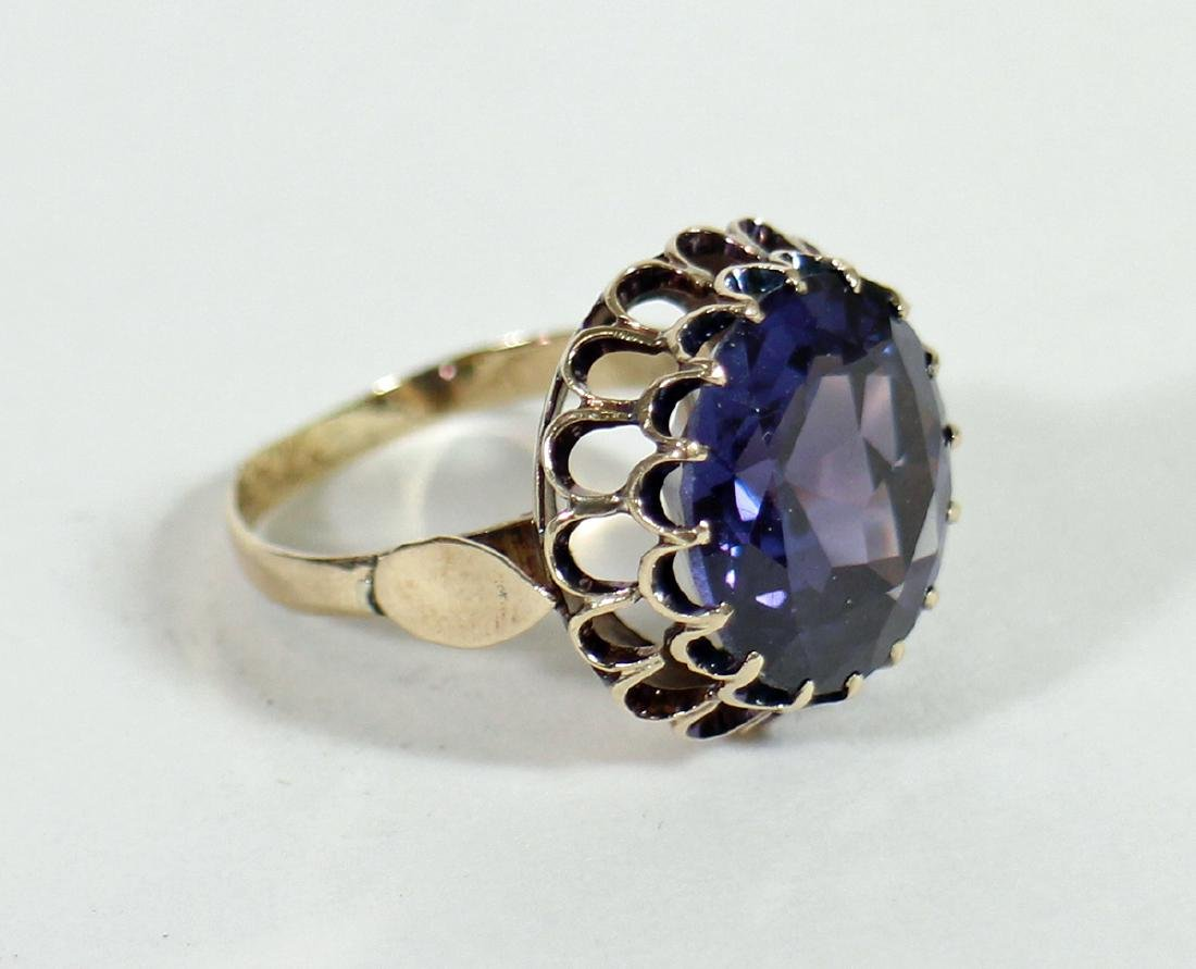 ANTIQUE ART DECO 14KT GOLD CORUNDUM RING - 2