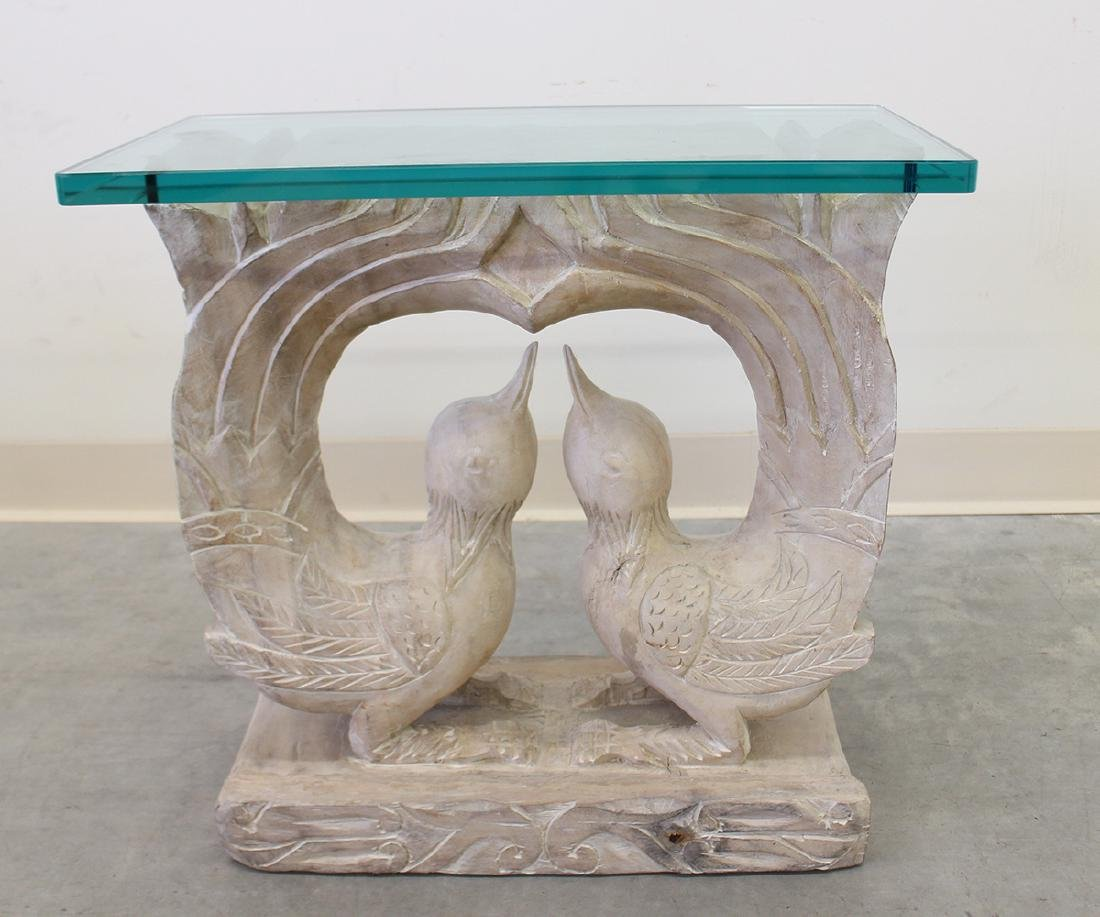 CARVED WOOD BIRD MOTIF END TABLE WITH GLASS TOP