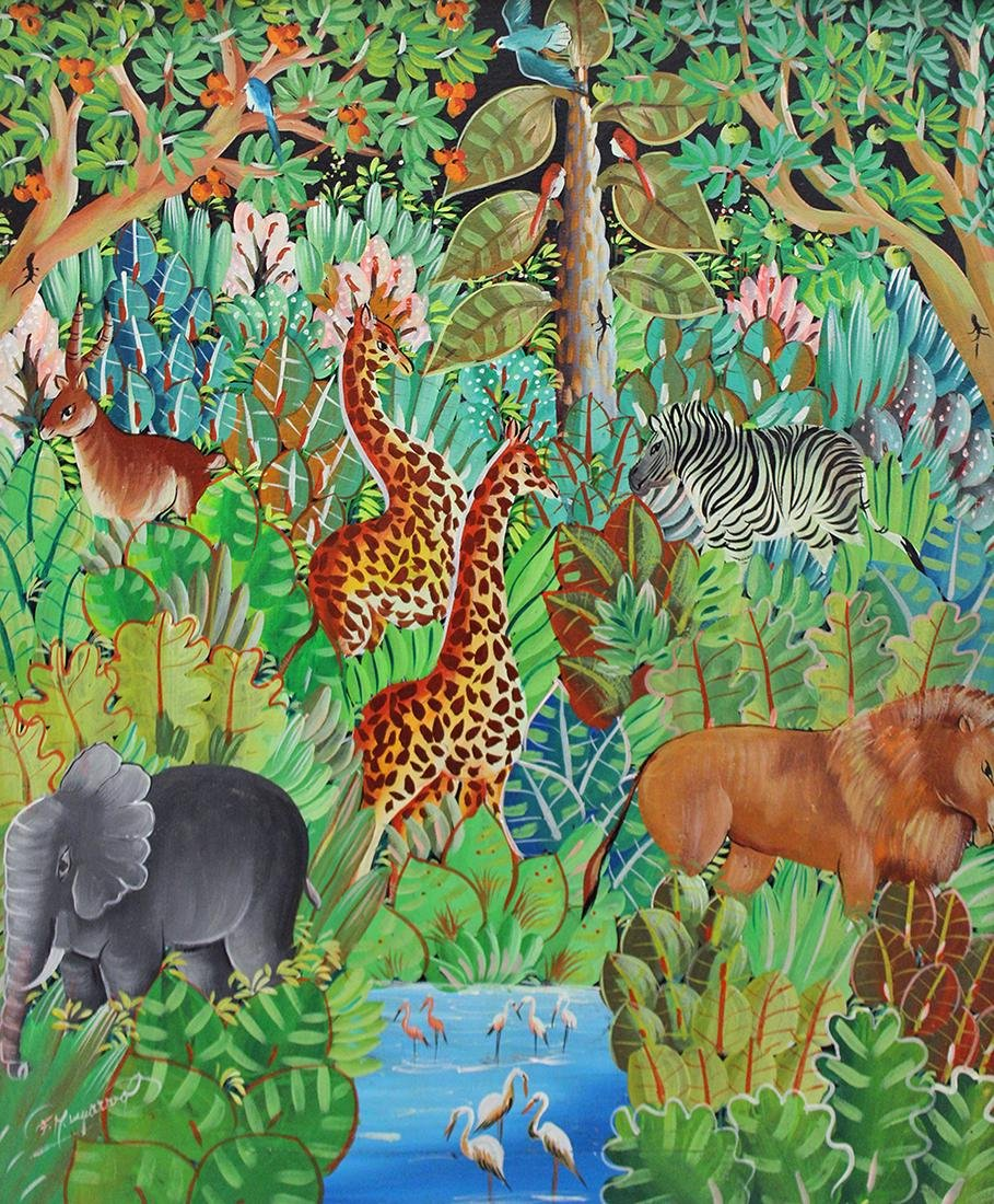 HAITIAN PAINTING - JUNGLE SCENE