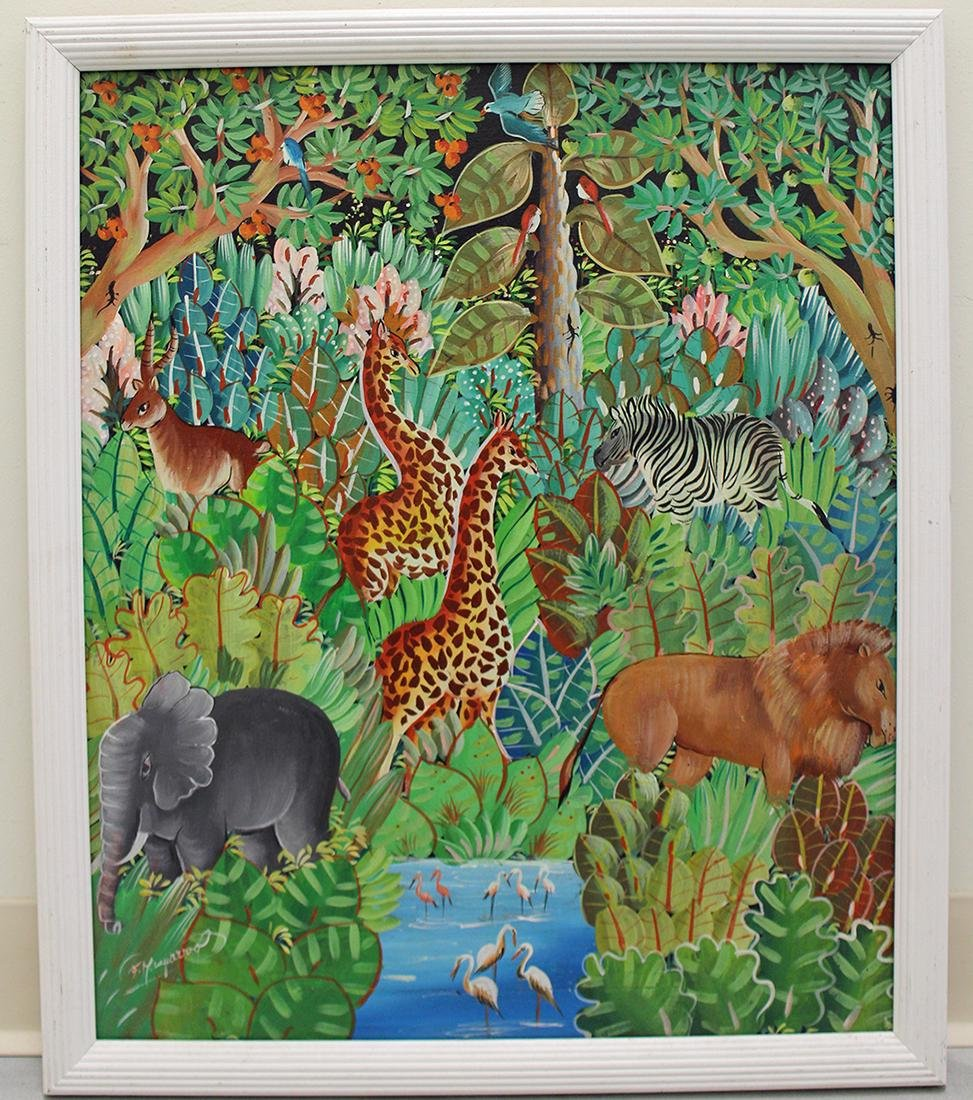 HAITIAN PAINTING - JUNGLE SCENE - 2