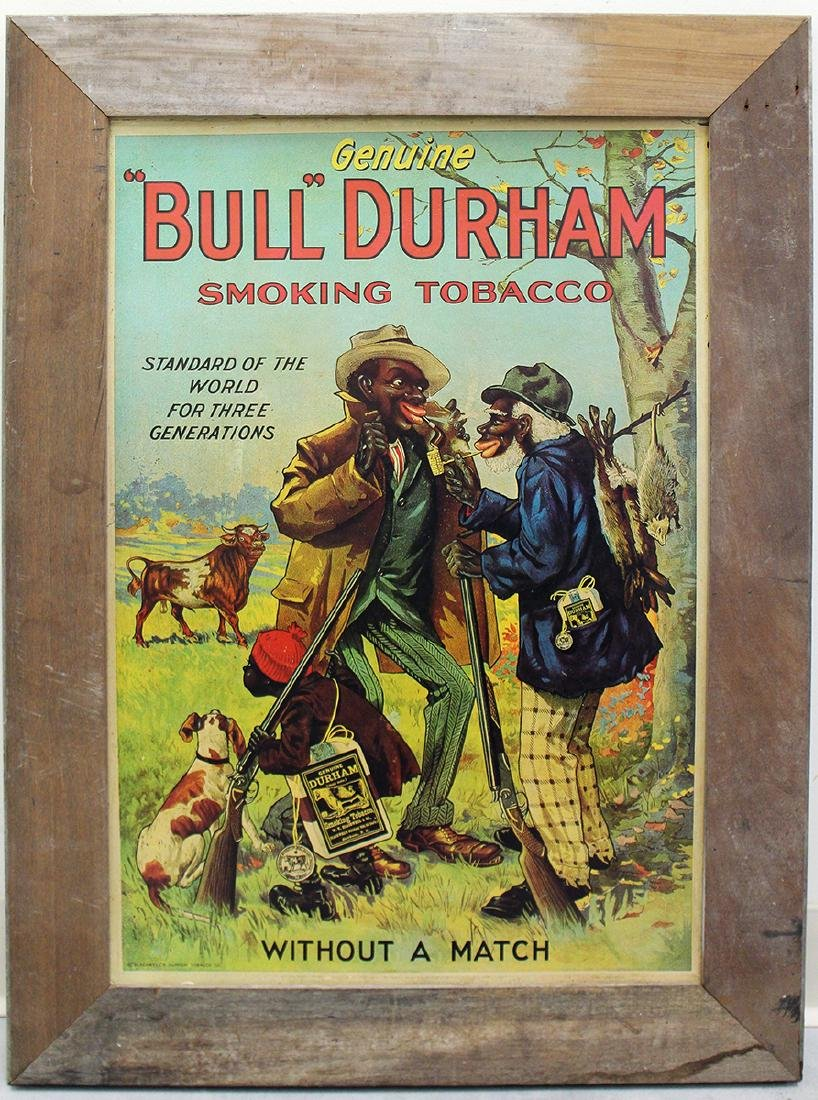 BULL DURHAM SMOKING TOBACCO LITHOGRAPH POSTER