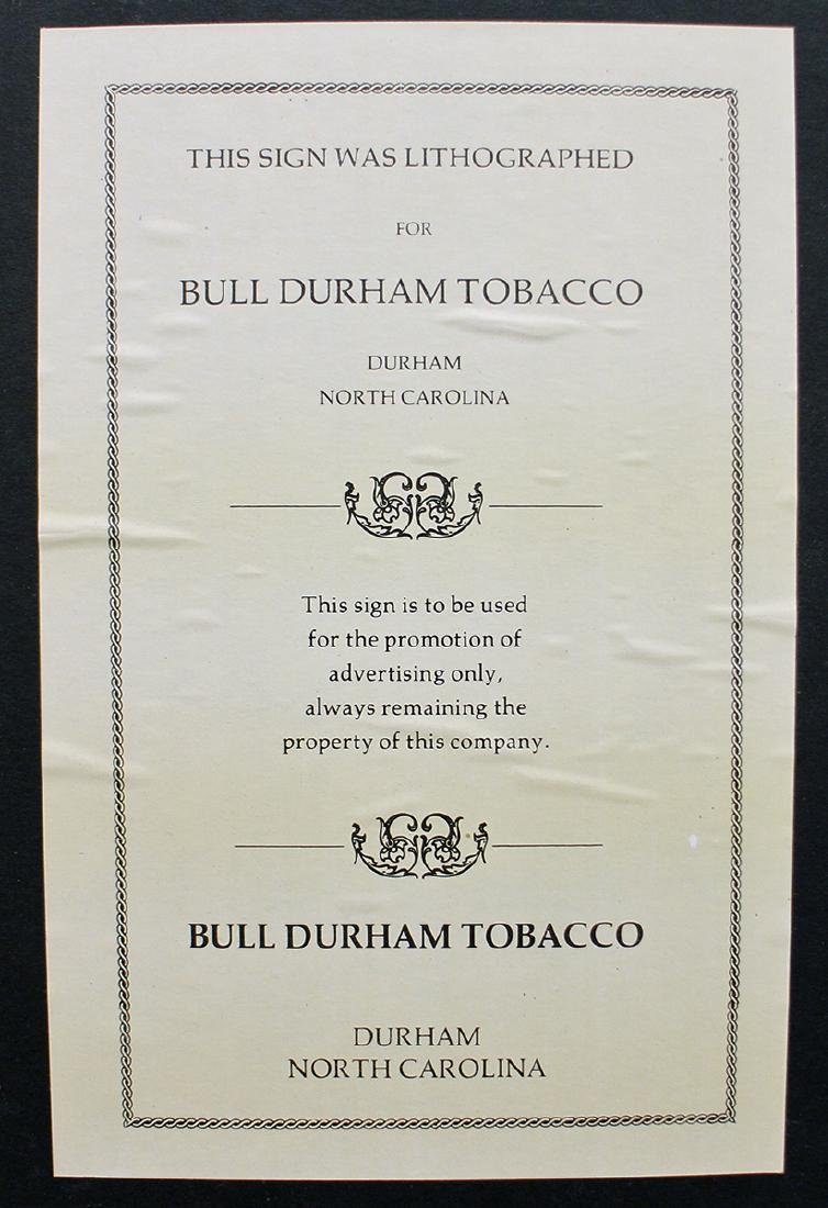 BULL DURHAM SMOKING TOBACCO LITHOGRAPH POSTER - 3