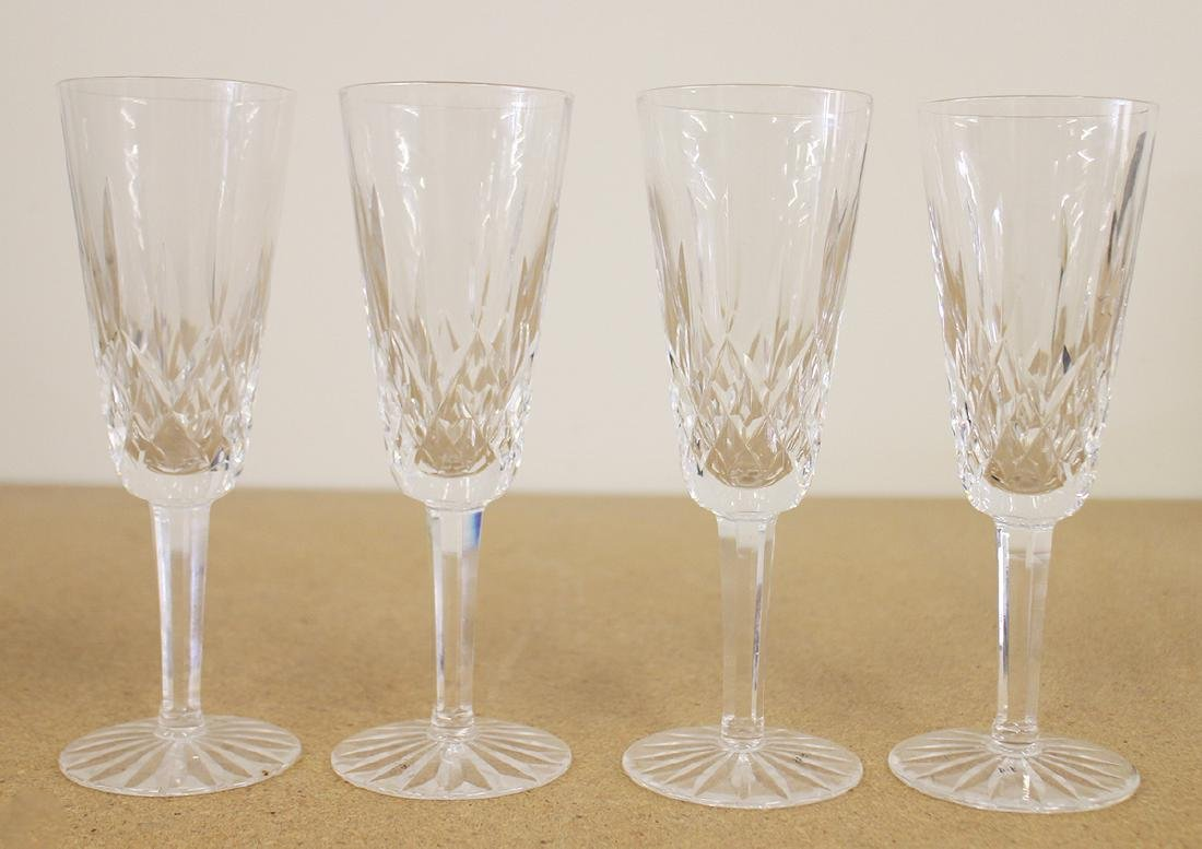 (4) WATERFORD CRYSTAL CHAMPAGNE FLUTES - LISMORE