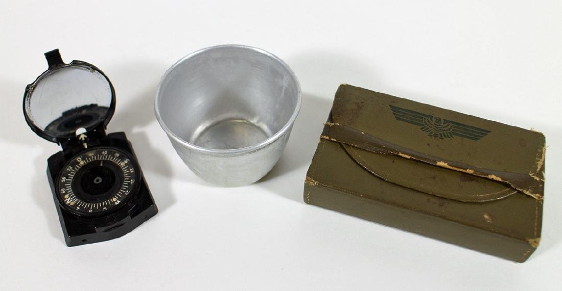 WWII GERMAN ARMY COMPASS, SEWING KIT, & CUP