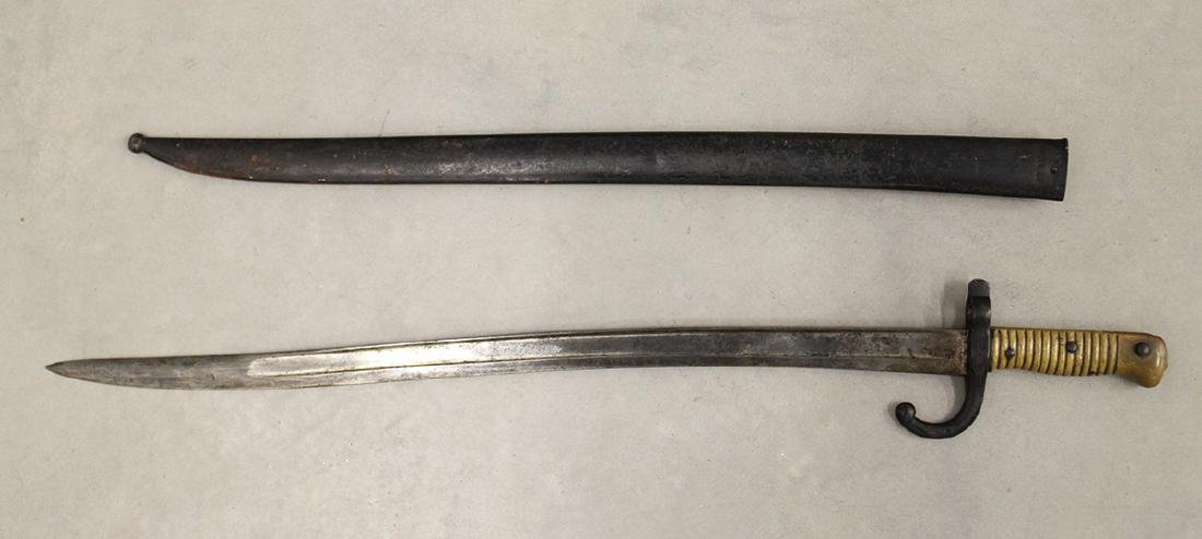 1874 FRENCH CHASSEPOT RIFLE BAYONET & SCABBARD