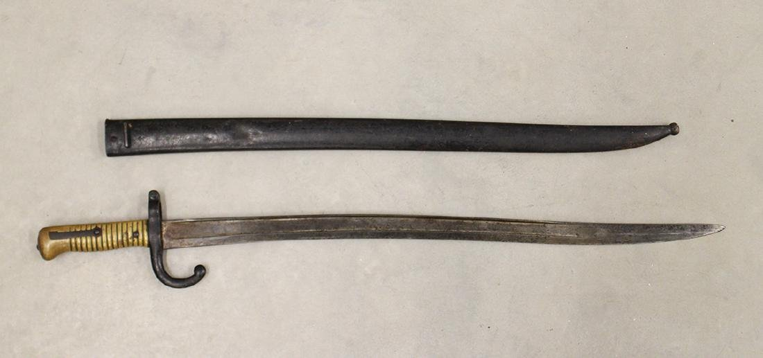 1874 FRENCH CHASSEPOT RIFLE BAYONET & SCABBARD - 2
