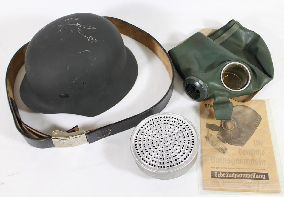 WWII GERMAN COMBAT HELMET, BELT, & GAS MASK