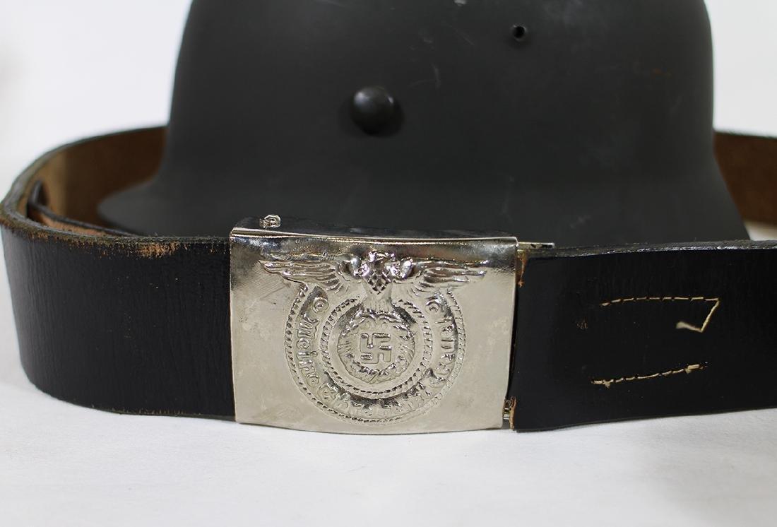 WWII GERMAN COMBAT HELMET, BELT, & GAS MASK - 2